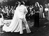 0132562 © Granger - Historical Picture ArchiveJUDY COLLINS (1939- ).   American singer and song writer. Singing at the wedding of fellow folk singer Arlo Guthrie and Jackelyn Hyde, at Washington, Massachusetts, 10 October 1969.