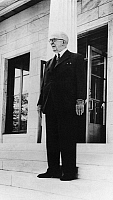 0170020 © Granger - Historical Picture ArchiveROBERT STERLING CLARK   (1877-1956). American art collector, horse breeder and philanthropist. Photographed on the steps of the Sterling and Francine Clark Art Institute in Williamstown, Massachusetts, on its opening day, 17 May 1955.