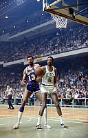 0170329 © Granger - Historical Picture ArchiveWILT CHAMBERLAIN (1936-1999).   American basketball player. Wilt Chamberlain of the Los Angeles Lakers and Bill Russell of the Boston Celtics, photographed during the NBA Finals at Boston Garden, Boston, Massachusetts, April-May 1969.