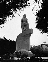 0175411 © Granger - Historical Picture ArchiveJUAN RODRIGUEZ CABRILLO  (1499-1543).   Also known as Joao Rodrigues Cabrilho. Portuguese explorer. Sculpture by Henry Lion in San Pedro, California. Photograph, c1940.