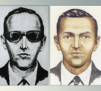 0216899 © Granger - Historical Picture ArchiveD.B. COOPER.   Dan Cooper. American airplane hijacker. FBI composite sketches of Cooper, who hijacked a Northwest Orient Airlines airplane on 24 November 1971, extorted $200,000 from the FBI, and escaped by parachuting over a southwestern portion of Washington State. It is unknown if he survived, as he was never found.