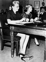 0621703 © Granger - Historical Picture ArchiveJERRIE COBB (1931- ).   American aviator. Cobb (left) and aviator Janey Briggs Hart appearing before a special House subcommittee investigating the future role of women in space. Photograph, 1962.