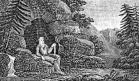 0083237 © Granger - Historical Picture ArchiveSAINT ANTHONY (c250-350).   First Christian monk. Saint Anthony in the desert. Line engraving, American, 1832.