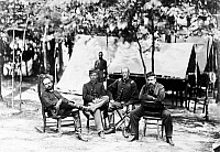 0067056 © Granger - Historical Picture ArchiveCHARLES F. ADAMS, JR.   (1835-1915). American historian. Captain Charles Francis Admas Jr. (on left) with fellow officers of the First Massachusetts Cavalry of the Union Army at the Army of the Potomac Headquarters in Petersburg, Virginia, during the American Civil War, August 1864. Photgraphed by Timothy O'Sullivan.