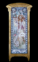 0260700 © Granger - Historical Picture ArchiveMUCHA: MAUDE ADAMS.   American actress Maude Adams (1872-1953) as Joan of Arc. Oil on canvas with gilded frame, 1909, by Alphonse Mucha, for an American production of Friedrich Schiller's 'Die Jungfrau von Orleans,' in which Adams played the lead.