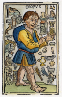 0008932 © Granger - Historical Picture ArchiveAESOP (620-560 B.C.)   surrounded by his creations  in a woodcut from Augsburg,  1498, by J. Schonsperger.