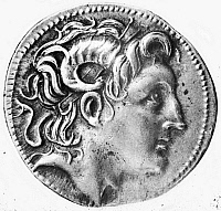 0012097 © Granger - Historical Picture ArchiveALEXANDER THE GREAT   (356-323 B.C.). King of Macedonia. Posthumous portrait on a silver tetradrachm, c300 B.C., depicting Alexander with the horns of Amen.