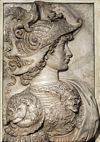 0106465 © Granger - Historical Picture ArchiveALEXANDER THE GREAT   (356-323 B.C.). King of Macedonia. Marble relief by Andrea Verrocchio, c1480.