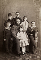 0009690 © Granger - Historical Picture ArchiveALEXANDER III (1845-1894).   Czar of Russia, 1881-94. Alexander III with his family. Back row: Empress consort Maria Feodorovna of Denmark, future czar Nicholas II, Grand Duchess Xenia. Center: Grand Duke Michael Alexandrovich, Alexander III, Grand Duke George. Front: Grand Duchess Olga. Original cabinet photograph, c1890.