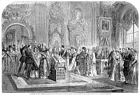 0088396 © Granger - Historical Picture ArchiveALEXANDER III: WEDDING.   The wedding of Grand Duke Alexander (later Czar Alexander III) of Russia to Princess Dagmar of Denmark at the Winter Palace in St. Petersburg, Russia, November 1866.