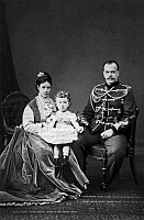 0126446 © Granger - Historical Picture ArchiveALEXANDER III (1845-1894).   Czar of Russia, 1881-94. With his wife, Maria Fyodorovna, née Marie Sophie Frederikke Dagmar, Princess of Denmark, and their son, the future Nicholas II. Photograph, 1869, by Levitsky.