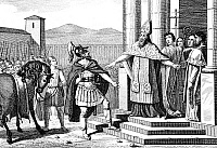 0040183 © Granger - Historical Picture ArchiveST. AMBROSE (c340-397).   Early Chruch father. Saint Ambrose refusing to admit the Roman Emperor Theodosius I into the Milan Cathedral, 390 A.D., on account of the massacre the Emperor had ordered at Thesslonica. Line engraving, 18th century.