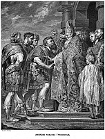 0071585 © Granger - Historical Picture ArchiveST. AMBROSE & THEODOSIUS.   Emperor Theodosius refused admission into the cathedral at Milan by St. Ambrose in 390 for the massacres recently carried out at his order at Thessalonica. Line engraving, late 19th century, after the painting by Anthony Van Dyck.