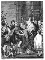 0407697 © Granger - Historical Picture ArchiveST. AMBROSE & THEODOSIUS.   Emperor Theodosius refused admission into the cathedral at Milan by St. Ambrose in 390 for the massacres recently carried out at his order at Thessalonica. Line engraving, late 19th century, after the painting by Anthony Van Dyck.
