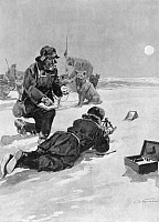 0002289 © Granger - Historical Picture ArchiveROALD AMUNDSEN (1872-1928).   Norwegian polar explorer. Amundsen, on his 1911 expedition to the South Pole, using a sextant and artificial horizon to determine his position. English illustration, c1911.