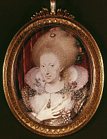 0048951 © Granger - Historical Picture ArchiveANNE OF DENMARK   (1574-1619). Queen consort of King James I of England and James VI of Scotland, 1603-1619. Miniature watercolor on vellum, c1612, by Isaac Oliver.