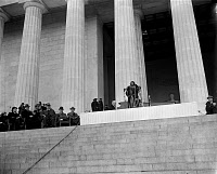 0259708 © Granger - Historical Picture ArchiveMARIAN ANDERSON (1897-1993).   American contralto singer. Performing on the steps of the Lincoln Memorial in Washington, D.C., during her open air concert on Easter Sunday, 9 April 1939. The government officials seated at left include Secretary of the Treasurer Henry Morgenthau, and Secretary of the Interior Harold Ickes.