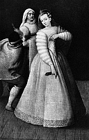 0054339 © Granger - Historical Picture ArchiveISABELLA ANDREINI (1562-1604).   Née Canali. Italian actress and writer. Performing with the Compagnia dei Comici Gelosi, c1590. Detail from a painting by Hieronymus Francken the Elder.
