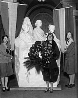 0109445 © Granger - Historical Picture ArchiveWOMEN'S RIGHTS MEMORIAL.   Members of the National Council of the Woman's Party honor the birthday of Susan B. Anthony by placing a wreath on a statue in the U.S. Capitol, 15 February 1929.