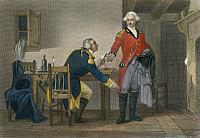0008203 © Granger - Historical Picture ArchiveARNOLD AND ANDRE, 1780.   Benedict Arnold persuading Major John Andre to conceal the plans of West Point in his boot at their meeting on 21 September 1780. Steel engraving, American, 19th century.