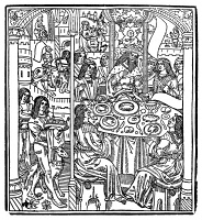 0002693 © Granger - Historical Picture ArchiveKING ARTHUR & KNIGHTS.   King Arthur and his Knights at the Round Table. Woodcut from 'Tristan', Paris, c1506.