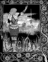 0018255 © Granger - Historical Picture ArchiveBEARDSLEY: MORTE D'ARTHUR.   King Arthur prepares to receive the sword Excalibur from the Lady of the Lake. Drawing by Aubrey Beardsley from an 1894 edition of Sir Thomas Malory's 'Le Morte D'Arthur.'