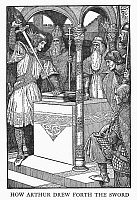 0033023 © Granger - Historical Picture ArchivePRINCE ARTHUR, 1923.   Arthur drawing the sword from the stone. Illustration by Louis Rhead (1857-1926) for