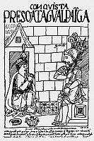 0118454 © Granger - Historical Picture ArchiveATAHUALPA (c1500-1533).   Last Inca king of Peru. Atahualpa in prison, guarded by a Spanish soldier, 1533. Pen and ink drawing from 'El primer nueva cronica y buen gobierno [The first new chronicle and good government], 1583-1615, by Felipe Guaman de Ayala.