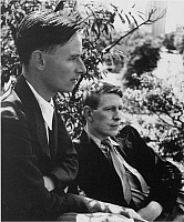 0060228 © Granger - Historical Picture ArchiveISHERWOOD AND AUDEN.  Christopher Isherwood, English writer, with W.H. Auden, English poet.