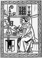 0004458 © Granger - Historical Picture ArchiveST. AUGUSTINE (354-430).   Christian church father and philosopher. St. Augustine in his study. Woodcut from his 'Soliloquii,' Florence, 1491.