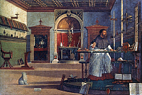 0043641 © Granger - Historical Picture ArchiveVISION OF ST. AUGUSTINE.   The vision of St. Augustine, Bishop of Hippo (354-430 A.D.). Oil on canvas by Carpaccio, 1502.