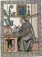 0050420 © Granger - Historical Picture ArchiveST. AUGUSTINE (354-430).   In his study. Woodcut from his