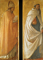 0057946 © Granger - Historical Picture ArchiveSAINT AUGUSTINE (354-430).   Early Christian church father and philosopher. From the Pisa Polyptych. Tempera on wood, by Masaccio, 1426.