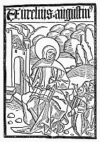 0093067 © Granger - Historical Picture ArchiveST. AUGUSTINE (354-430).   Christian church father and philosopher. Woodcut from an edition of the 'Canones iuxtu regulam,' Strassburg, 1490.