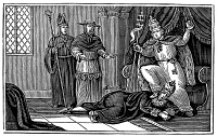0067087 © Granger - Historical Picture ArchiveALEXANDER III (d. 1181).   Pope (1159-1181). Originally, Roberto Bandinelli. Pope Alexander III treading on the neck of Holy Roman Emperor Frederick Barbarossa. Wood engraving, American, 1842.