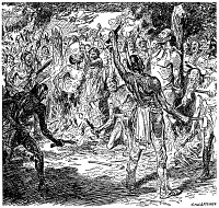 0034531 © Granger - Historical Picture ArchiveBREBEUF & LALEMANT, 1649.   The martyrdom of Saint Jean de Brébeuf and fellow Jesuit missionary, Saint Gabriel Lalemant by Iroquois Native Americans at the Huron Village of St. Louis, Canada, 1649. Drawing by C.W. Jefferys.
