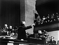 0176254 © Granger - Historical Picture ArchiveARISTIDE BRIAND (1862-1932).   French statesman. Briand delivering a speech on disarmament before the Ninth Assembly of the League of Nations in the Hall of the Reformation, Geneva, Switzerland, while serving as French Minister of Foreign Affairs, September 1928. Photographed by Erich Salomon.