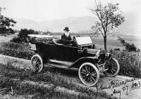 0058874 © Granger - Historical Picture ArchiveJOHN BURROUGHS (1837-1921).   American naturalist. Burroughs in his Model T Ford, c1913.