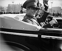 0125319 © Granger - Historical Picture ArchiveFULGENCIO BATISTA (1901-1973).   Cuban soldier and dictator, waving to a crowd in Washington, D.C., 10 November 1938.