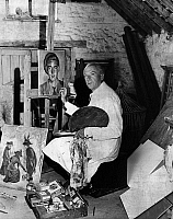 0169947 © Granger - Historical Picture ArchiveCECIL W.H. BEATON   (1904-1980). Sir Cecil Walter Hardy Beaton. English photographer, designer and painter. Beaton in his painting studio at his country estate in England, 1956.