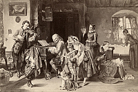 0264999 © Granger - Historical Picture ArchiveJOHANN SEBASTIAN BACH   (1685-1750). German organist and composer. Bach and his family at morning prayers. Photogravure, late 19th century, after a painting, 1870, by Toby Edward Rosenthal.