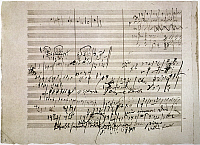 0052356 © Granger - Historical Picture ArchiveBEETHOVEN MANUSCRIPT.   Sketches by Ludwig van Beethoven (1770-1827) for his Fifth Symphony in C Minor, opus 67.
