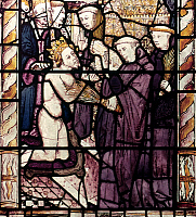 0021643 © Granger - Historical Picture ArchiveHENRY II (1133-1189).   King of England, 1154-1189. Penance of King Henry II of England after St. Thomas à Becket was murdered by knights from his court. Stained glass, Bodleian Library, Oxford, England.