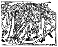 0058376 © Granger - Historical Picture ArchiveTHOMAS À BECKET (c1118-1170).   English prelate. The murder of St. Thomas à Becket at Canterbury Cathedral, 29 December 1170, by knights from the court of King Henry II. Woodcut from John Mirk's 'Festial,' Oxford, 1486.