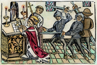 0081504 © Granger - Historical Picture ArchiveTHOMAS A BECKET MURDER.   The murder of St. Thomas à Becket at Canterbury Cathedral, 29 December 1170, by knights from the court of King Henry II. Woodcut from William Caxton's edition of the 'Golden Legend,' c1484-85.