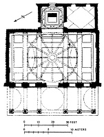 0018448 © Granger - Historical Picture ArchiveBRUNELLESCHI: PAZZI PLAN.   Modern floor plan for the Pazzi Chapel at the Palazzo Pitti, Florence, by Filippo Brunelleschi.