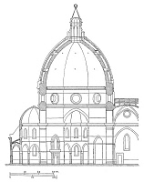 0018449 © Granger - Historical Picture ArchiveBRUNELLESCHI: DOME PLAN.   Modern diagram of the cross section of Filippo Brunelleschi's dome for the Cathedral of Florence.