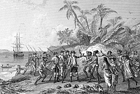 0042093 © Granger - Historical Picture ArchiveLOUIS de BOUGAINVILLE   (1729-1811). French navigator. Bougainville meeting the natives of Tahiti, c1766-69. Steel engraving, French, 19th century.
