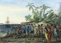 0042094 © Granger - Historical Picture ArchiveLOUIS de BOUGAINVILLE   (1729-1811), a French navigator, meeting the natives of Tahiti, c1766-69. Steel engraving, French, 19th century.