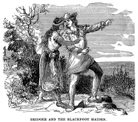 0034947 © Granger - Historical Picture ArchiveJAMES BRIDGER (1804-1881).   American fur trader and mountain man. Bridger and the Blackfoot maiden. Wood engraving, American, 19th century.